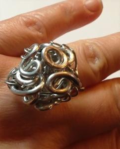 Silver Goddess Spirals Rosettes Ring
