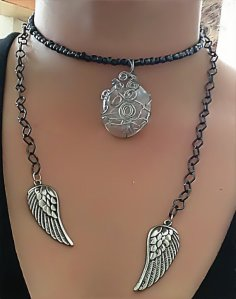 GODDESS SPIRALS GUNMETAL CHAINS ANGEL WINGS