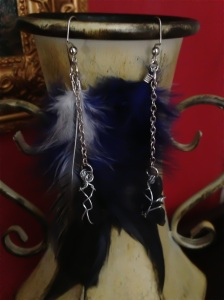 Blue and White Feathers with Silver Wrapped Cobalt Blue Sea Glass on Chains