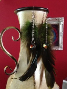 Green Feathers with Peacock Crystals on Chains