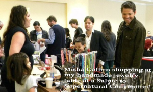 Misha Collins checking out my jewelry at a Salute to Supernatural convention!