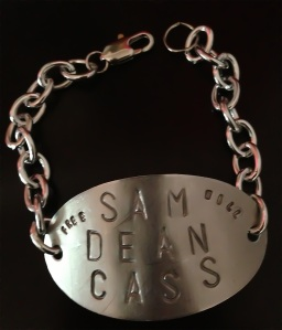Team Free Will Sam Dean Cass Hand Stamped Oval Bracelet