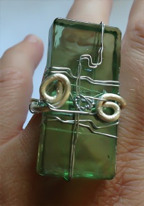 Green glass tile ring wrapped with three different wire thicknesses