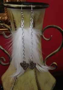 Earrings with White Feathers with Diana/Artemis Symbol and Triple Moon