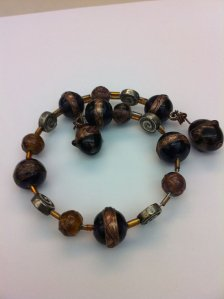 Goddess spiral glass wrap bracelet in browns, golds, and wines