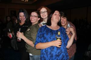 Winding down at the Karaoke party Friday evening after a fierce selling day.