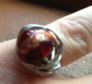 A ring gorgeous crimson red and gold glass bead wrapped in silver - inspired by the fallen leaves