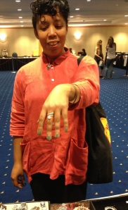 Rolanda wearing my goddess swirl ring