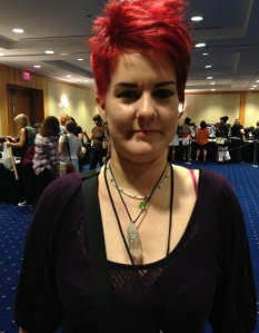 Yasmine wearing a wrapped quartz crystal point necklace
