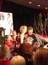 Samantha Smith and Jim Beaver getting their karaoke fix