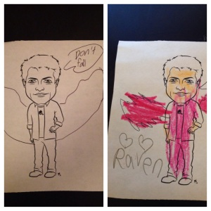 "Phoenix's and Raven's Misha colorings.  Please note Phoenix's message, ""Don't Fall."""