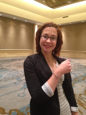 Joy wearing a one of a kind silver bracelet!