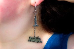 Companion earrings to the Keep Calm and Carry On charm bracelet - they include a Peace, Love Supernatural charm as well as a Keep Calm and Carry On charm - Carrie wears them with pride!