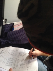 Phoenix spent most of the flight doing his homework, since he was going to be missing three days of school.  Responsible kid - who ARE you?!?