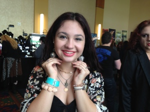 "Shanaya - a remarkable young woman!  She's wearing my Dean tribute earrings (One reads ""Awesome"" , the other reads, ""Pie"""