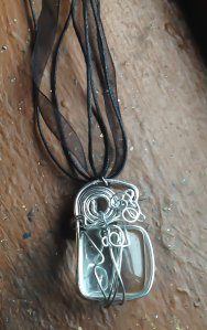 Clear Glass Goddess Spiral Frame Necklace