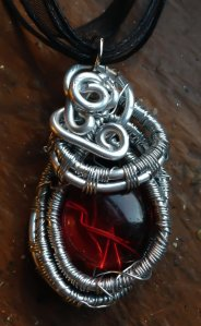 Red Glass Encased in Woven Silver Necklace