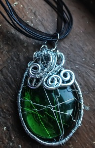 Large Woven Green Glass Necklace