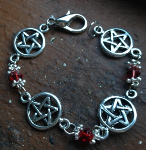 Pentagrams and Red Crystals Bracelet