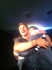 Some angel and prophet love - Sebastian Roche happy to see Rob Benedict!