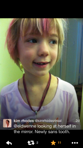 Kim Rhodes' daughter, wearing the necklace that matches the one I made for her mommy at VegasCon!